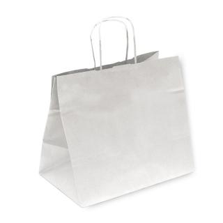 Shopper di carta bianca con manico ritorto cm 32+21x28,5
