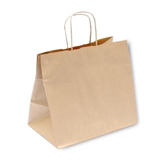 Shopper di carta avana con manico ritorto cm 32+21x28,5