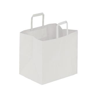 Shopper di carta bianco manico piatto cm 32 + 17 x 29 gr 90/mq