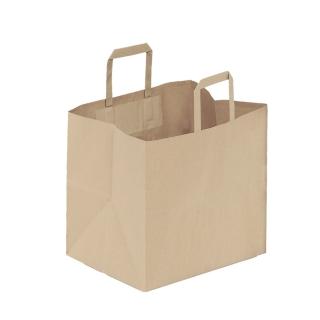 Shopper di carta avana manico piatto cm 32 + 17 x 29 gr 90/mq