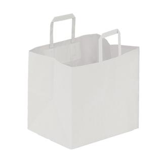 Shopper di carta bianco manico piatto cm 32 + 22 x 34 gr 90/mq