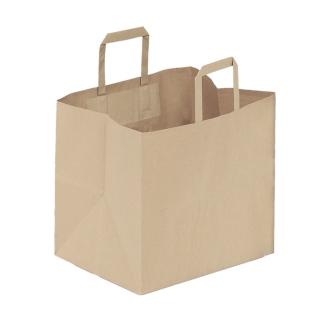 Shopper di carta avana manico piatto cm 32 + 22 x 34 gr 90/mq