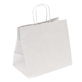 Shopper di carta bianco manico ritorto cm 36 + 22 x 33 gr 100/mq