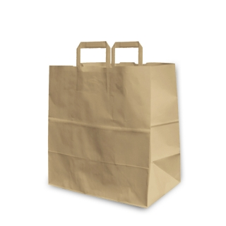 Shopper di carta avana con manico piatto cm 26x16x29 ct300pz