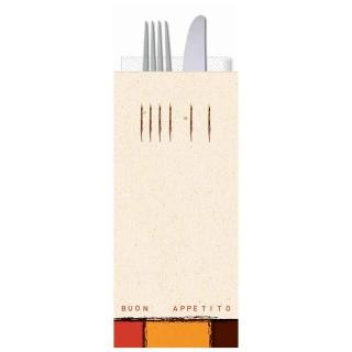 Busta portaposate Buon Appetito con tovagliolo cm 38x38 2 veli