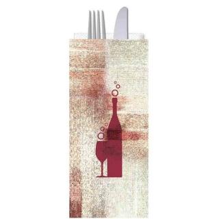 Busta portaposate Red Wine con tovagliolo cm 38x38 2 veli