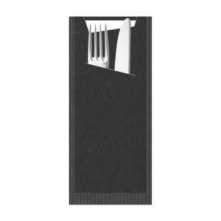 Busta porta posate carta paglia nera Pocket