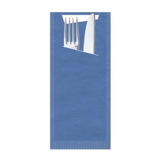 Busta porta posate carta paglia blu Pocket