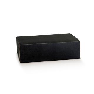 Scatola in cartocino avana naturale con finitura effetto seta color nero riciclabile cm 35x28x12