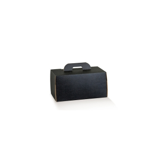 Scatola take away con maniglia in cartocino avana naturale con finitura effetto seta color nero riciclabile cm 16x14x10
