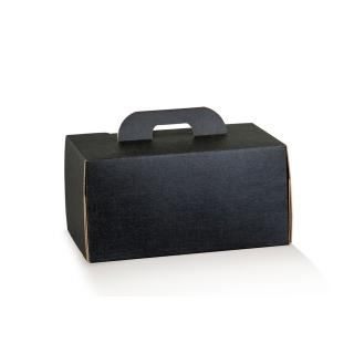 Scatola con maniglia in cartocino avana naturale con finitura effetto seta color nero riciclabile cm 28x20x14 cf da 10 pezzi
