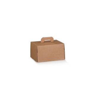 Scatola con maniglia in cartocino avana naturale riciclabile cm 16x14x10