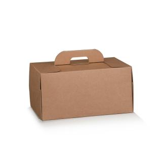 Scatola con maniglia in cartocino avana naturale  riciclabile cm 28x20x14
