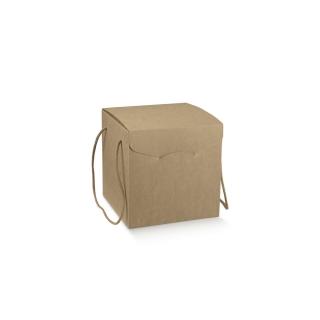 Scatola in cartoncino avana elegance con cordini cm  21x21x h 21 riciclabile