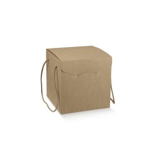 Scatola in cartoncino avana elegance con cordini cm  24,5x24,5x18 riciclabile