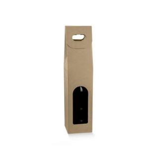 Scatola in cartoncino avana 1 bottiglia cm 9x9x38,5 riciclabile
