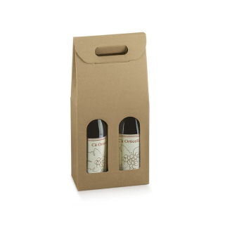 Scatola in cartoncino avana 2 bottiglie cm 20x10x38,5 riciclabile