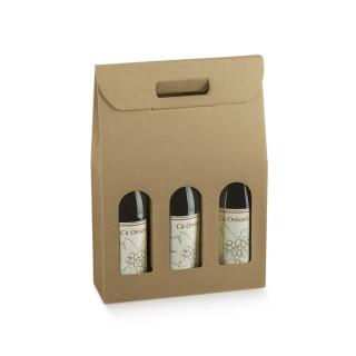 Scatola in cartoncino avana 3 bottiglie cm 30x10x38,5 riciclabile