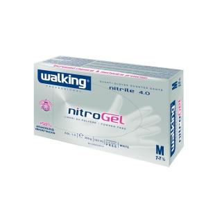 Guanti nitrile senza polvere bianco con microgrip medium