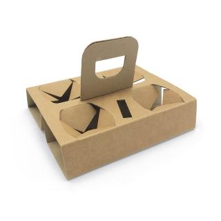 Cestino porta bicchieri 4 posti cm 15x20 in cartoncino riciclato avana