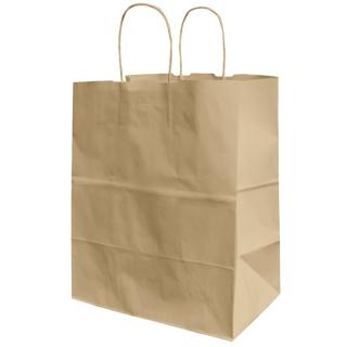 Shopper di carta avana manico ritorto cm 32 + 13 x 41 gr 100/mq