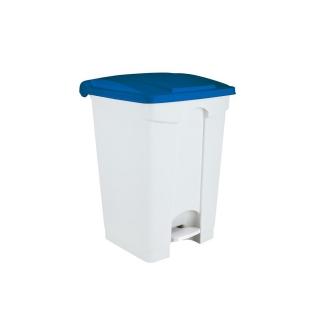 Pattumiera a pedale di plastica bianco-blu 45 LT cm 41x39x60
