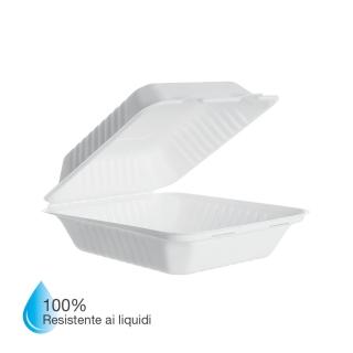 Vaschetta in polpa di cellulosa laminata in PLA cm 20x22x7,5 Impermeabile