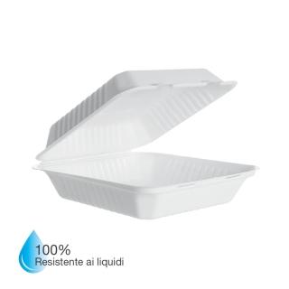 Vaschetta in polpa di cellulosa laminata in PLA cm 23x23x7,5 Impermeabile