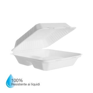 Vaschetta triscomparto in polpa di cellulosa laminata in PLA cm 23x23x7,5 Impermeabile