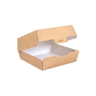 Scatola per Hamburger in cartoncino avana compostabile a chiusura SAFE cm 17,6x16,8x7,8