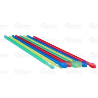 Cannuccia con cucchiaio granita nuda colori assortiti diametro mm 6 altezza cm 20