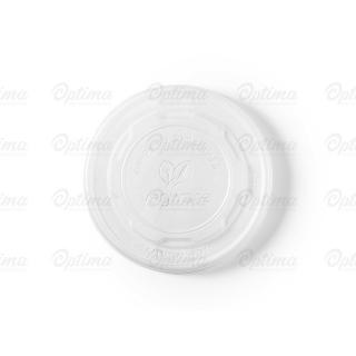 Coperchio piatto CPLA  per contenitore di cartoncinio bio per zuppa 12/16/24 oz